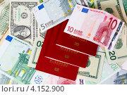 Купить «Валюта и заграничные паспорта», фото № 4152900, снято 25 ноября 2012 г. (c) Mikhail Starodubov / Фотобанк Лори