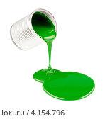 Купить «Зеленая краска выливается из банки», фото № 4154796, снято 15 января 2012 г. (c) Андрей Кузьмин / Фотобанк Лори
