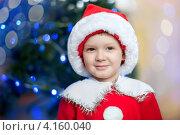 Мальчик в костюме Санта-Клауса около елки. Стоковое фото, фотограф Евстратенко Юлия Викторовна / Фотобанк Лори