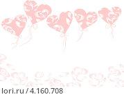 Воздушные шары. Сердечки. День влюбленных. Стоковая иллюстрация, иллюстратор Ольга Рыбкина / Фотобанк Лори