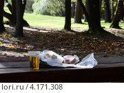 Алкогольный натюрморт в парке на столе. Стоковое фото, фотограф Влад ЩЧ / Фотобанк Лори