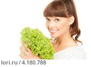 Купить «Счастливая девушка с челкой и зеленым салатом в руках на белом фоне», фото № 4180788, снято 27 июня 2010 г. (c) Syda Productions / Фотобанк Лори