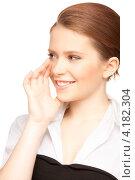 Купить «Болтливая веселая девушка делится сплетнями и слухами на белом фоне», фото № 4182304, снято 30 мая 2010 г. (c) Syda Productions / Фотобанк Лори