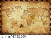 Карта мира в ретро-стиле. Стоковая иллюстрация, иллюстратор Андрей Кузьмин / Фотобанк Лори