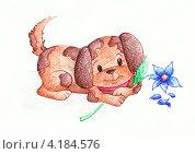 """Купить «Рисунок """"Щенок с цветком"""", маркер», иллюстрация № 4184576 (c) Ирина Иванова / Фотобанк Лори"""