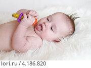 Купить «Малыш рассматривает игрушку высунув язык (3,5 месяца)», фото № 4186820, снято 12 января 2013 г. (c) ivolodina / Фотобанк Лори