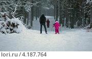Купить «Дедушка учит внуков кататься на лыжах», видеоролик № 4187764, снято 12 января 2013 г. (c) Кекяляйнен Андрей / Фотобанк Лори