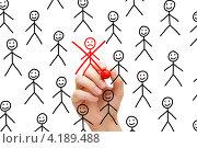 Купить «Перечеркнутый красным маркером человечек», фото № 4189488, снято 24 мая 2019 г. (c) Ивелин Радков / Фотобанк Лори