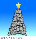 Новогоднее дерево из пачек банкнот. Стоковая иллюстрация, иллюстратор Николай Цитульский / Фотобанк Лори
