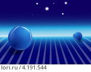 Синие шары на поверхности, 3D. Стоковая иллюстрация, иллюстратор Николай Цитульский / Фотобанк Лори