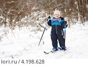 Купить «Ребенок на лыжах», фото № 4198628, снято 23 февраля 2012 г. (c) Юлия Симонова / Фотобанк Лори