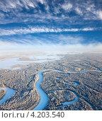 Купить «Вид сверху на зимний лес с рекой», фото № 4203540, снято 18 января 2013 г. (c) Владимир Мельников / Фотобанк Лори