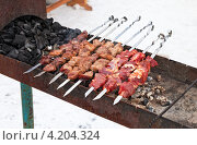 Купить «Приготовление шашлыка на мангале», фото № 4204324, снято 16 августа 2018 г. (c) FotograFF / Фотобанк Лори