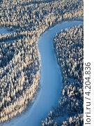 Купить «Заснеженные хвойные деревья на берегу реки. Вид сверху», фото № 4204836, снято 18 января 2013 г. (c) Владимир Мельников / Фотобанк Лори