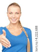 Купить «Привлекательная деловая женщина протянула руку для рукопожатия», фото № 4222688, снято 8 мая 2010 г. (c) Syda Productions / Фотобанк Лори