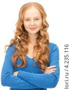 Купить «Прелестная юная девушка в синем свитере на белом фоне», фото № 4235116, снято 27 ноября 2010 г. (c) Syda Productions / Фотобанк Лори
