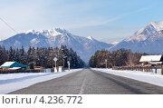 Прибайкалье. Тункинские гольцы. Зимняя дорога в горы на Аршан (2013 год). Стоковое фото, фотограф Виктория Катьянова / Фотобанк Лори