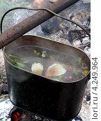 Котелок с травяным чаем над костром. Стоковое фото, фотограф Александр Замараев / Фотобанк Лори