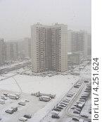 Купить «Сильный снегопад в Москве, улица Новокосинская, район Новокосино», эксклюзивное фото № 4251624, снято 29 января 2013 г. (c) lana1501 / Фотобанк Лори