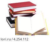 Купить «Стопка книг и раскрытая книга без текста», эксклюзивное фото № 4254112, снято 2 февраля 2013 г. (c) Юрий Морозов / Фотобанк Лори