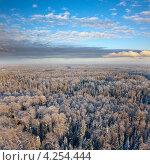 Вид сверху на лесистую местность зимой. Стоковое фото, фотограф Владимир Мельников / Фотобанк Лори