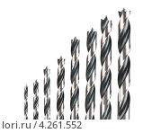 Купить «Сверла различного диаметра на белом фоне», фото № 4261552, снято 4 февраля 2013 г. (c) Александр Лычагин / Фотобанк Лори
