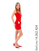 Купить «Юная блондинка в красном платье и туфлях на каблуках на белом фоне», фото № 4262424, снято 2 февраля 2008 г. (c) Syda Productions / Фотобанк Лори