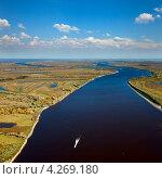 Купить «Катер на большой реке», фото № 4269180, снято 15 сентября 2011 г. (c) Владимир Мельников / Фотобанк Лори