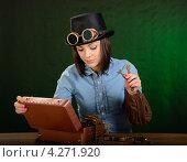 Купить «Девушка-механик в стиле стимпанк», фото № 4271920, снято 7 февраля 2013 г. (c) Валерий Александрович / Фотобанк Лори