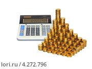 Купить «Монеты и калькулятор. Монеты, сложенные в столбики. Концепция роста доходов», эксклюзивное фото № 4272796, снято 8 февраля 2013 г. (c) Юрий Морозов / Фотобанк Лори