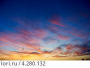 Купить «Вечернее синее небо с лёгкими оранжевыми облаками», фото № 4280132, снято 28 октября 2011 г. (c) Дмитрий Калиновский / Фотобанк Лори