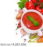 Купить «Традиционный томатный суп», фото № 4281656, снято 7 февраля 2013 г. (c) Наталия Кленова / Фотобанк Лори