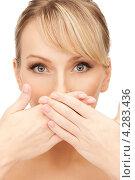 Купить «Шикарная ухоженная молодая блондинка крупным планом на белом фоне», фото № 4283436, снято 8 февраля 2011 г. (c) Syda Productions / Фотобанк Лори