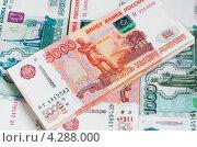 Купить «Стопки российских денег», эксклюзивное фото № 4288000, снято 14 февраля 2013 г. (c) Игорь Низов / Фотобанк Лори