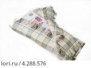Российские деньги, завернутые в платок, на светлом фоне. Стоковое фото, фотограф Татьяна Фролова / Фотобанк Лори