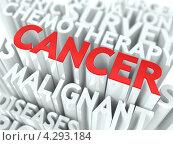 Купить «Слово Cancer из объемных букв», иллюстрация № 4293184 (c) Илья Урядников / Фотобанк Лори