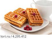 Вафли с ягодами и чашка на салфетке. Стоковое фото, фотограф Максим Савин / Фотобанк Лори