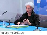 Купить «Кристин Лагард (Christine Madeleine Odette Lagarde) - директор-распорядитель Международного валютного фонда (МВФ) на пресс-конференции посвященной предстоящему саммиту G20», фото № 4295796, снято 16 февраля 2013 г. (c) Игорь Долгов / Фотобанк Лори