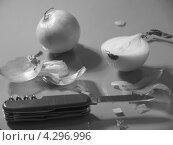 Чёрно-белый натюрморт с репчатым луком. Стоковое фото, фотограф Елена Алексеева / Фотобанк Лори