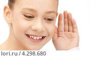 Купить «Счастливая девочка прислушивается к сплетням», фото № 4298680, снято 26 марта 2011 г. (c) Syda Productions / Фотобанк Лори