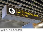 Купить «Место для курения, указатель на английском языке», фото № 4299840, снято 31 января 2013 г. (c) FMRU / Фотобанк Лори