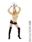 Купить «Девушка в золотой куртке с серебристым шаром диско», фото № 4311688, снято 20 января 2008 г. (c) Syda Productions / Фотобанк Лори