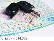 Купить «Свидетельство о регистрации, страховой полис и ключи от машины», эксклюзивное фото № 4314308, снято 14 февраля 2013 г. (c) Игорь Низов / Фотобанк Лори