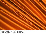 Купить «Складки на золотистой атласной ткани (сатин)», фото № 4314592, снято 20 февраля 2013 г. (c) FMRU / Фотобанк Лори