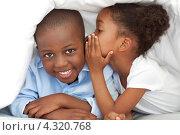 Купить «Темнокожая девочка шепчет что-то своему брату на ухо под одеялом», фото № 4320768, снято 21 октября 2009 г. (c) Wavebreak Media / Фотобанк Лори
