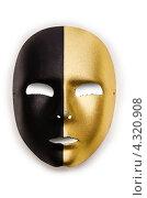 Купить «Золотисто-чёрная театральная маска на белом фоне», фото № 4320908, снято 27 ноября 2012 г. (c) Elnur / Фотобанк Лори