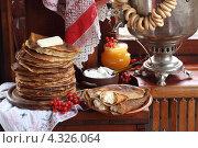 Купить «Натюрморт с блинами, сметаной, медом, творогом, калиной, сушками и самоваром», фото № 4326064, снято 24 февраля 2013 г. (c) Марина Володько / Фотобанк Лори