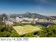 Купить «Вид на вертолетную площадку, пляж Ботафого и залив Гуанабара  - Рио-де-Жанейро, Бразилия», фото № 4326700, снято 21 декабря 2012 г. (c) vale_t / Фотобанк Лори
