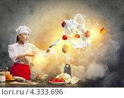 Купить «Красивая девушка азиатской внешности колдует на кухне среди летающей еды и утрвари», фото № 4333696, снято 26 ноября 2012 г. (c) Sergey Nivens / Фотобанк Лори