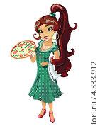 Итальянка с пиццей. Стоковая иллюстрация, иллюстратор Ольга Алексеева / Фотобанк Лори